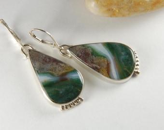 Ocean Jasper Earrings Metalwork Earrings Statement Earrings Earthy Earrings Luxury Jewelry Metalwork Jewerly