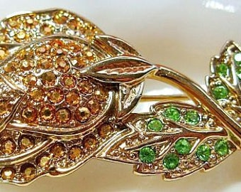 "Danecraft Brooch Pin Signed Champagne & Green Rhinestones Rose Bud Gold Metal 2"" Vintage"
