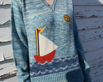 vintage space dyed sweater sail boat nautical novelty print - 70s
