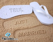Just Married Flip Flops Wedding Bridal *Check size chart before ordering*