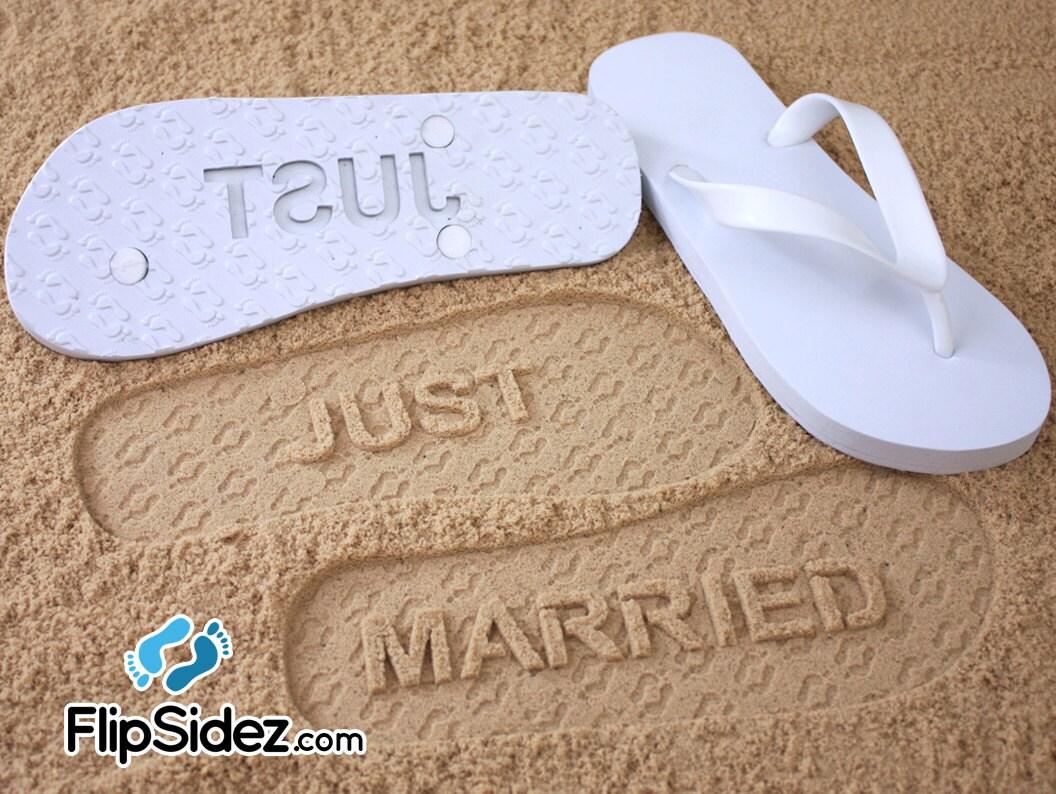 just married flip flops custom sand imprint sandals for. Black Bedroom Furniture Sets. Home Design Ideas