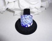 White and Blue Glass Saddle Ring