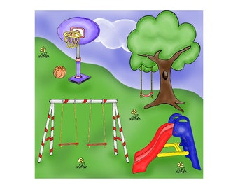 Play Park Digital Clip Art - Playground Clipart - Swing Clip Art - Invitations - Web Design - Scrapbooking