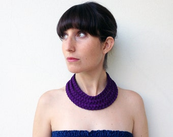 The triple braid necklace - handmade in shiny dark purple fabric