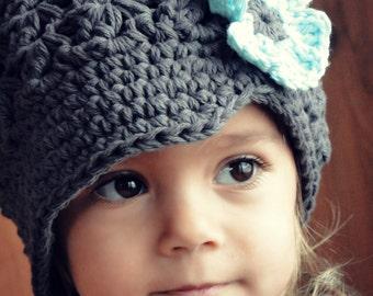 Hat for Girls, crochet baby hat, kids hat, gray hat, newsboy hat, crochet newsboy hat, toddler hat
