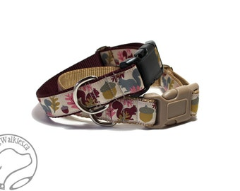 """Nuts for Squirrels on Burgundy Fall Dog Collar - 1"""" (25mm) Wide - Martingale or Side Release - Choice of style and size // Wine // Maroon"""
