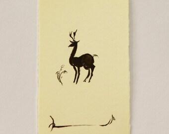 ink art, mini painting, animal drawing, animal painting, ink drawing, ink painting, Japanese art, Deer art, Forest, mini art, deer painting