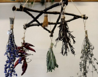 Pagan Wiccan Oak Twig Pentagram Herb Hanger / Drier With Oak Besom.  Handmade Witch Kitchen Decoration.