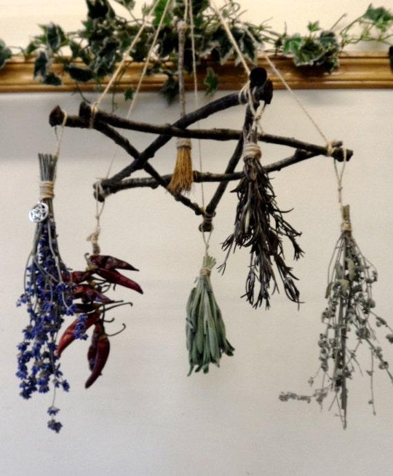 Pagan Wiccan Yule Gift Oak Twig Pentagram Herb Hanger