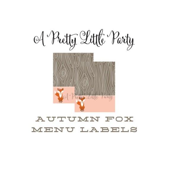 FOX Menu Tags  - Woodland Fox Digital files - Party Supplies - INSTANT DOWNLOAD