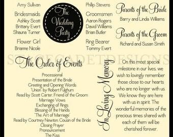 Custom Printable Vintage Wedding Program Digital File
