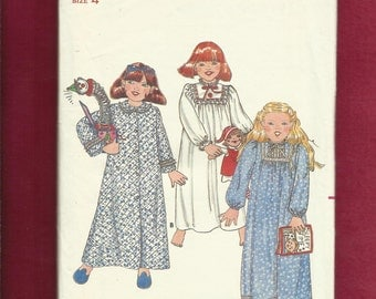 1980s Butterick 4100 Little Girl's Country Nightgown & Robe Pattern Size 4