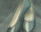 Bridal Silver Flats, embellished trim, bling brooch, satin ballet style slipper, 25th anniversary, MOB MOG, comfort and beauty, XV,Reception
