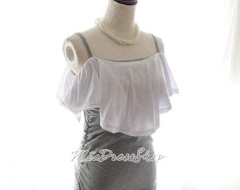 SUMMER CLEARANCE SALE Cape Knee Length Jersey Cotton Mermaid Side Stretch Bodycon Dress Sundress Women's Fashion Slim Fit