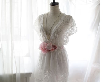 Boho Pure Angel Wing Tunic White Lace Dress Butterfly Sleeves Dreamy Romantic Women's Sundress Beach Bikini Coverup Sheer Top Shabby Chic
