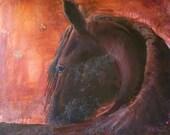 Large, Friesian Horse, Original Acrylic on Canvas, 36x36