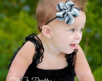 Black Chevron Headband - Black Headband - Chevron Headband - Flower Headband - Black and Grey Headband - Black Chevron Flower Hair Clip