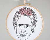 Nicolas Cage/Frida Kahlo hand embroidered portrait
