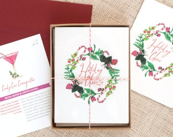 Festive Recipe Holiday Cards : Candy Cane Cosmo Pack of 8