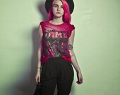 Red bleached tshirt  vintage inspired horror comic book cover DIP dye tee