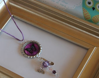 Lupus Awareness-necklace-Swarovski crystals,butterfly bottle cap, long crystal,spoon,hope charms