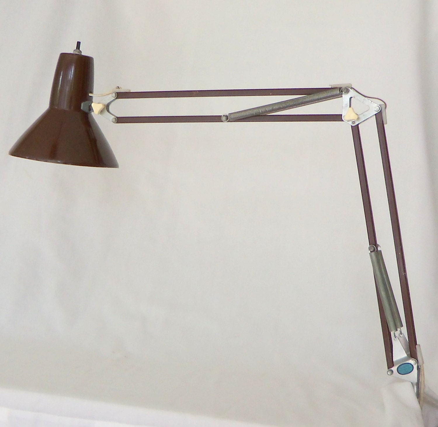 Vintage Ledu Swing Arm Architect Lamp Brown Mid Century