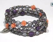Silver and purple wrap bracelet