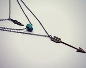 arrow layer necklace, turquoise necklace, featber necklace, tribal necklace, arrowhead jewelry