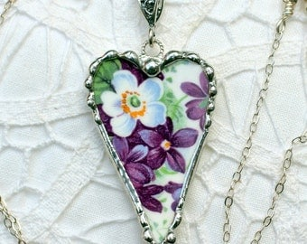 Necklace, Broken China Jewelry, Broken China Necklace, Heart Pendant, Purple Violets China, Sterling Silver, Soldered Jewelry