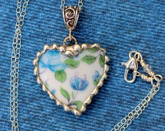 Broken China Jewelry, Heart Pendant Necklace, Blue Rose China, Sterling Silver