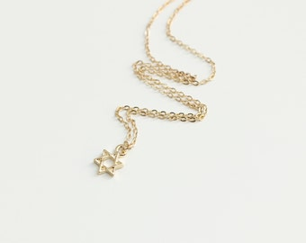 Delicate simple everyday star of david gold necklace