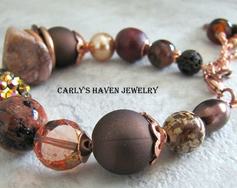 brown and bright copper beaded chunky bracelet, ready to ship, gifts for women, gifts under 45, gifts for mom, chocolate truffle brown