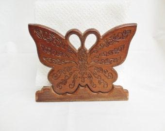Wooden Butterfly Napkin Holder or Desk Organizer Carved Wood