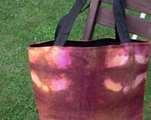Linen Hand Bag Hand Dyed and Hand Sewn burnt oranges and pinks black lining and handles Autumn style