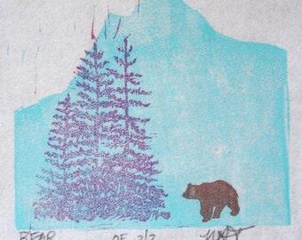 Mountain Bear Miniature Linocut Block Print Trees Stamp