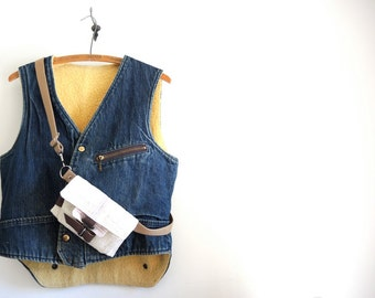 Vintage  Denim Vest Jacket Carters brand 1970s Mens Small Shearling Jean Jacket BOYS Young Adult Large