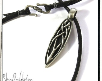 Celtic Spear Necklace - Spearhead - Celtic Necklace - Pewter Celtic Knotwork
