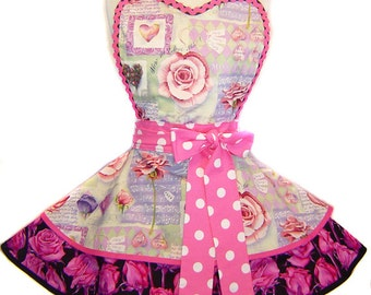 "Exclusive ""Rose Song "" Made-To-Order Apron Pinup Diner-Only from Tie Me Up Aprons"