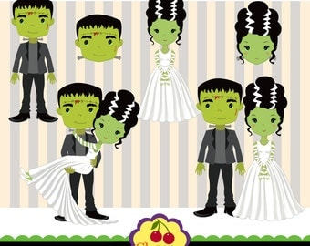 Halloween Frankenstein and his Bride Clip Art - HALLOWEEN NO.13 -Halloween Clip Art-Personal and Commercial Use