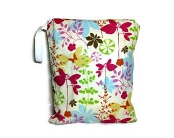 Spring floral wet bag waterproof cloth diaper zipper medium swim bathing suit pool beach girl boy ivory pink green blue flowers butterflies
