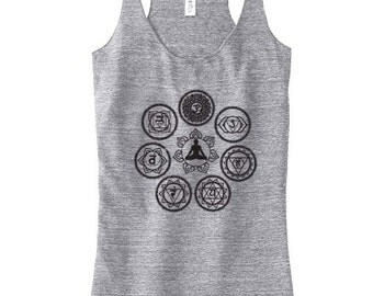Chakra Yoga Top For Women, Yoga Top, Yoga Tank, Yoga Gift for Mom, Yogawear, Yoga Clothes