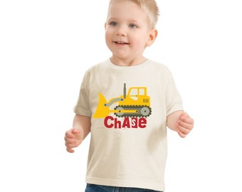 Bulldozer T-shirt, Tractor Birthday Shirt, Children's Personalized T Shirt, Toddler Bulldozer Shirt, Boys Birthday Shirt