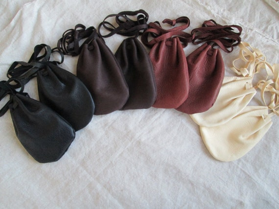 1 Drawstring Leather Pouch/Bag, Deerskin - Choose Your Color