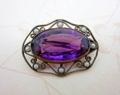 Victorian amethyst glass and seed pearl brass brooch pin