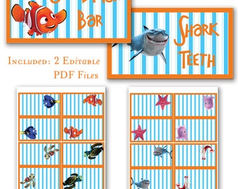 INSTANT DOWNLOAD Finding Nemo Food Tents Editable