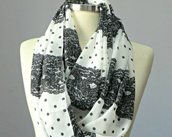 Scarf, chunky scarves, infinity chiffon scarf, summer spring women's fashion, loop scarf, black of white