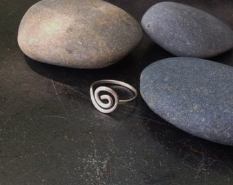 Sterling silver jewelry, Hand formed sterling silver swirl ring