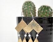 Brass Geometric Statement Earrings // smokey opal alabaster bead // hand hammered