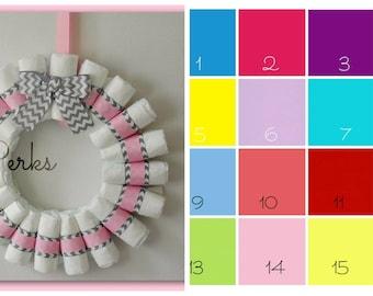 Chevron Diaper Wreath , Chevron Baby Shower , CHOOSE YOUR COLOR , Pink ,  Gray,