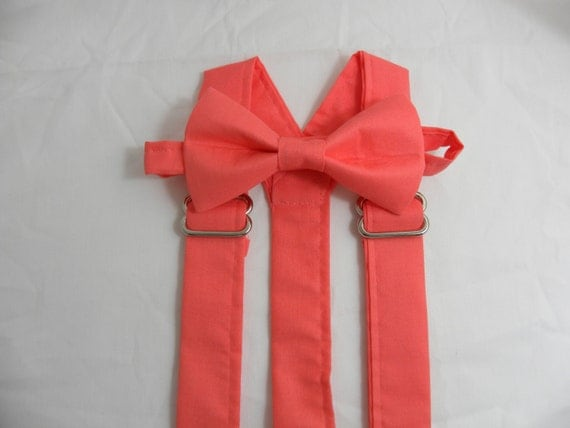 on sale coral coral suspenders and bow by jhpcouture
